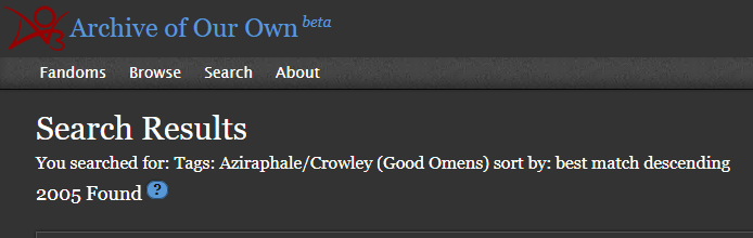 Searching for 'good omens fanfic'